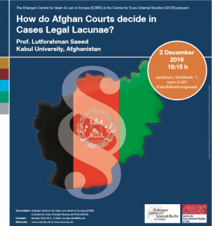 "Zum Artikel ""Vortrag am 2.12.2019: How do Afghan Courts decide in Cases Legal Lacunae? – Prof. Lutforahman Saeed (Kabul University, Afghanistan)"""
